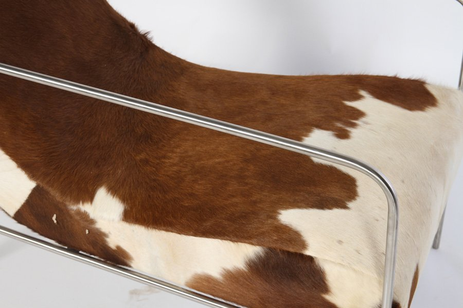 PAIR STYLISH COWHIDE UPHOLSTERED CLUB CHAIRS - 4