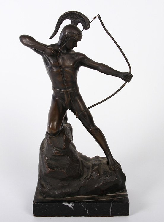 SMALL FIGURAL BRONZE ARCHER OR WARRIOR WITH BOW
