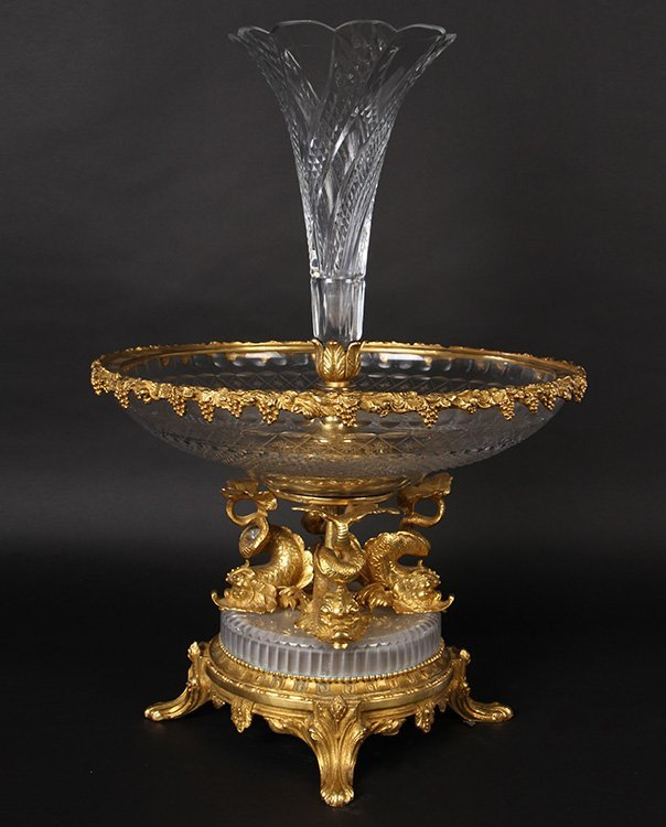 LARGE DORE BRONZE & CRYSTAL CENTERPIECE BOWL