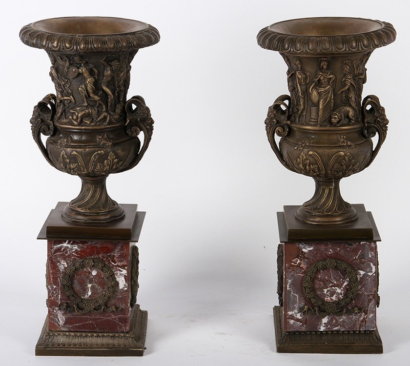 PAIR RED MARBLE BRONZE EMPIRE MANTLE URNS