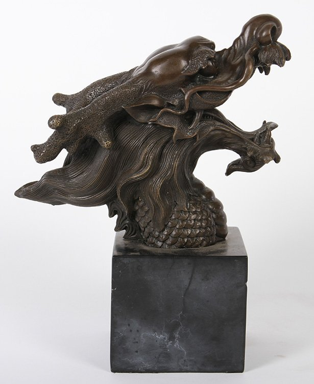 BRONZE BUST OF DRAGON'S HEAD CHINESE STYLE