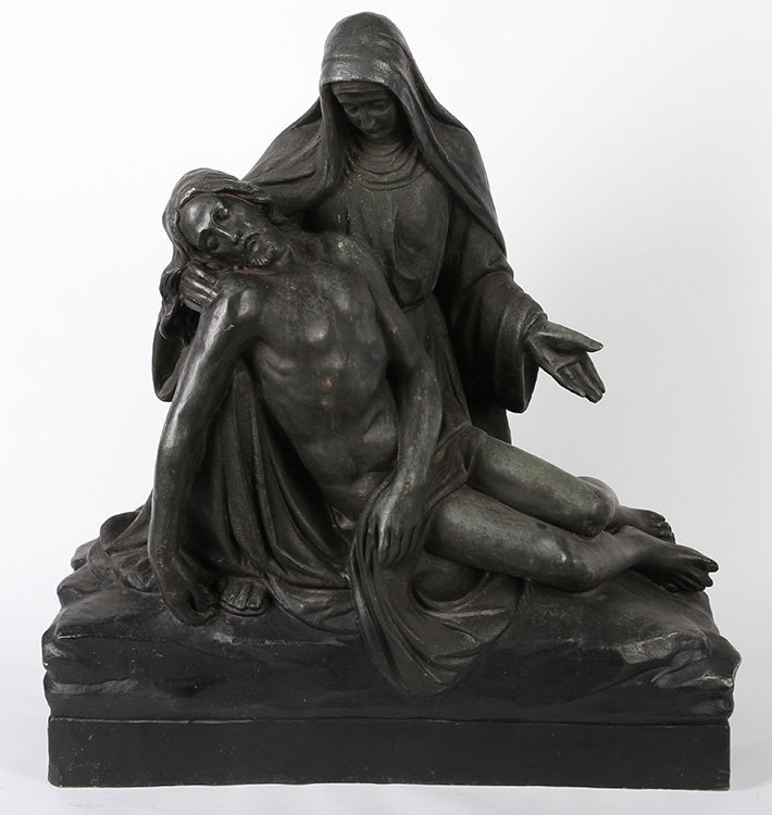 LARGE BRONZE OF JESUS AND MARY