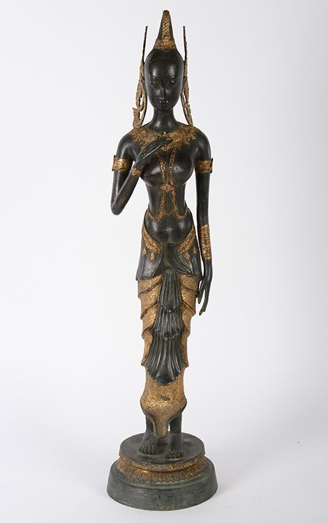 POLYCHROMED BRONZE OF A SCANTILY CLAD FEMALE