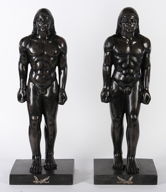 MATCHED PAIR BRONZE PATINATED MARBLE FIGURES MALE