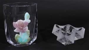 2 PC LOT DAUM GLASS CRYSTAL VASE MARKED