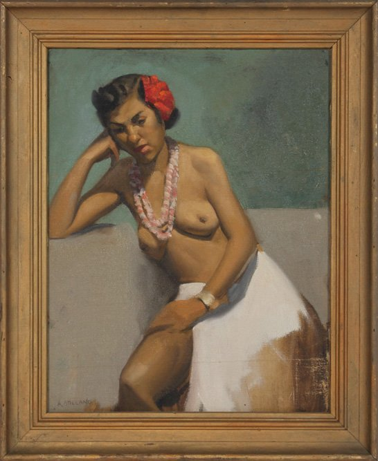 ALEXANDER STILLANO SIGNED OIL SEATED NUDE WOMAN