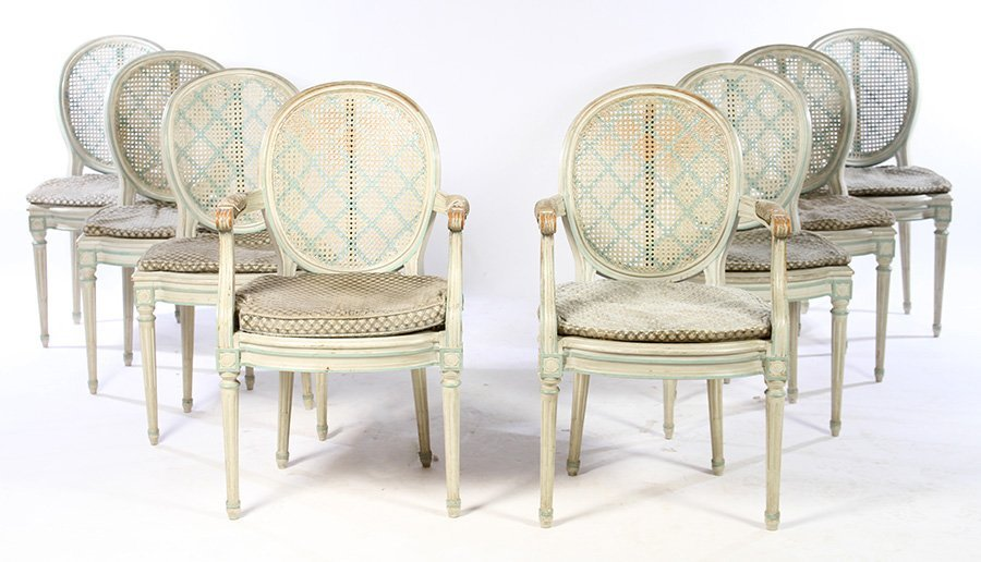 SET 8 LOUIS XVI PAINTED FRENCH DINING CHAIRS 1930