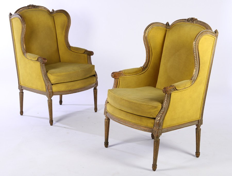 PAIR CARVED LOUIS XVI STYLE BERGERE CHAIRS 1900