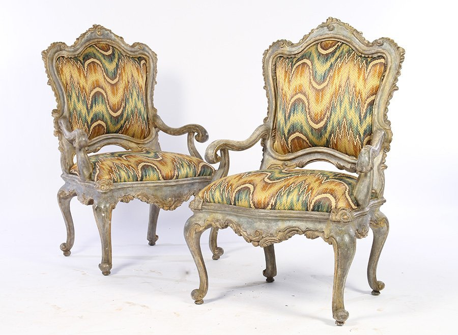 OVERSIZED CARVED PAIR ITALIAN OPEN ARM CHAIRS