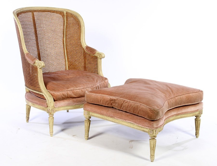 2 PC PAINTED CHAISE LOUNGE LOUIS 16TH 1940