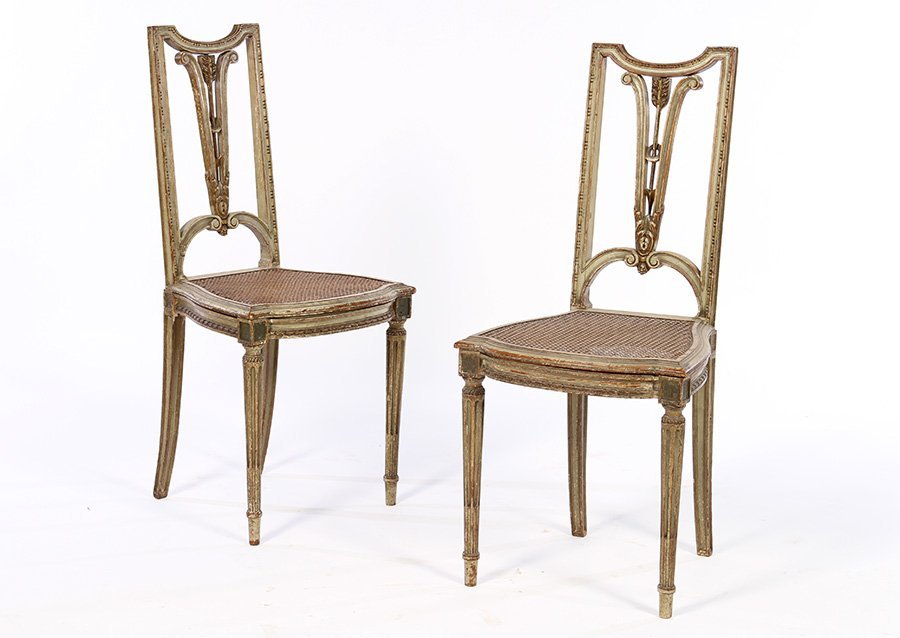 PAIR STYLIZED PAINTED GILT SIDE CHAIRS 1910