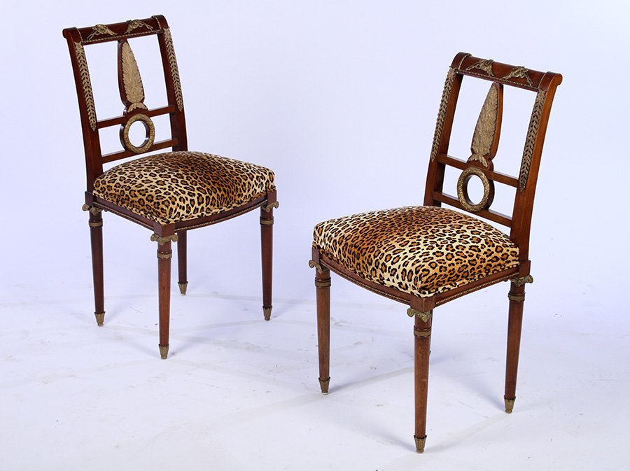 PAIR GILT MAHOGANY BELLE EPOQUE SIDE CHAIRS 1910