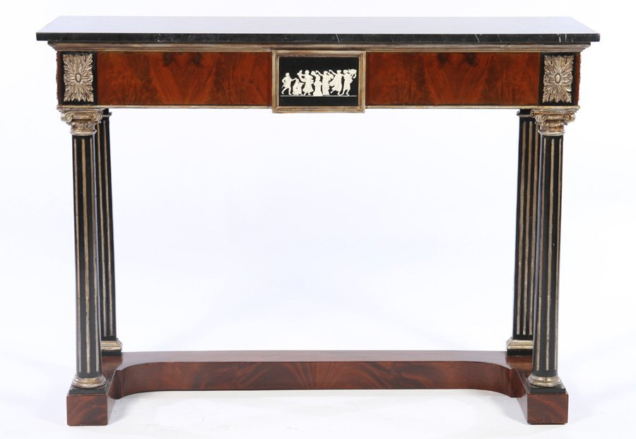 NEOCLASSICAL MARBLE CROTCH MAHOGANY CONSOLE TABLE