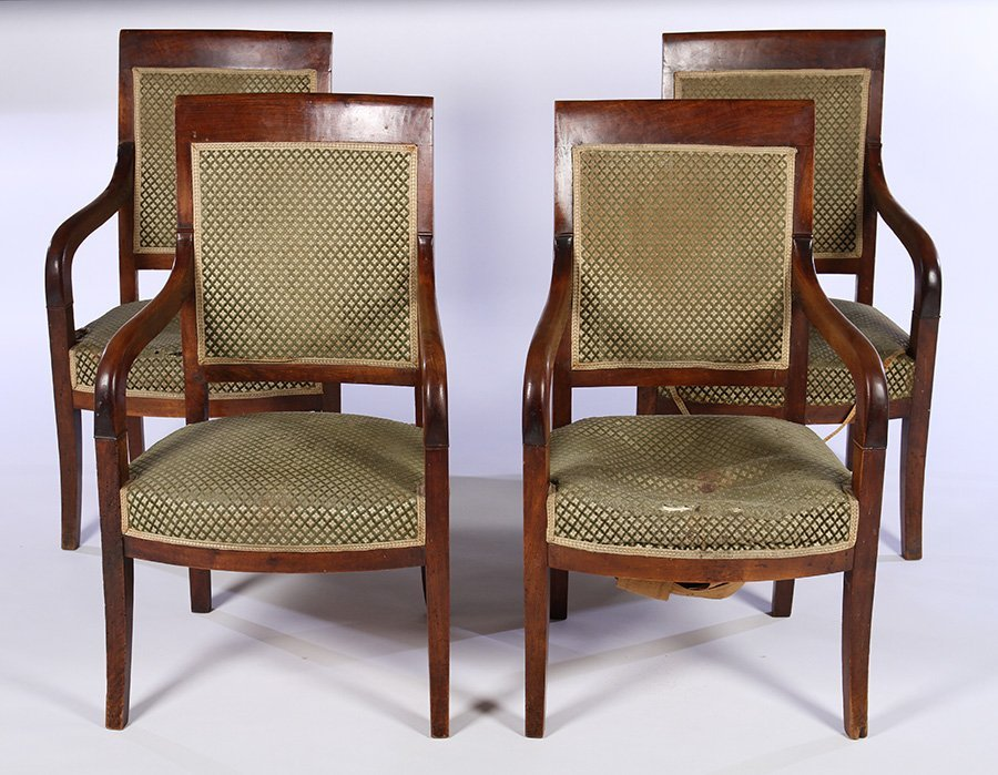 SET OF 4 FRENCH 19TH C. RESTORATION ARM CHAIRS