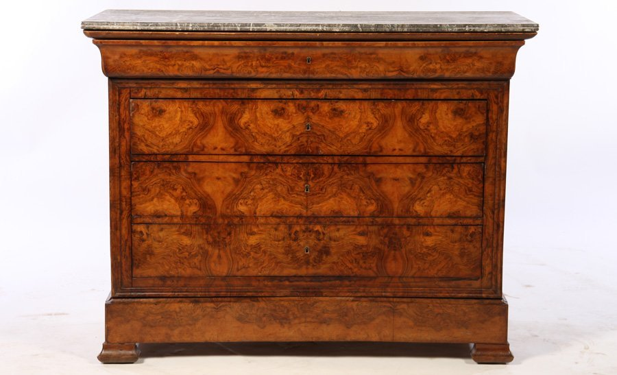 LOUIS PHILIPPE WALNUT MARBLE TOP COMMODE 1860