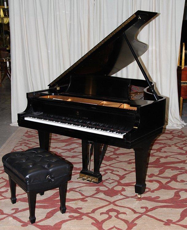 STEINWAY & SONS SATIN EBONY MODEL B PIANO #535450