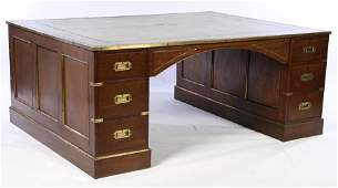 UNUSUAL LARGE MAHOGANY LEATHER TOP PARTNERS DESK