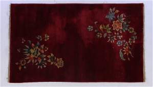 ROOM SIZED CHINESE ART DECO FLORAL RUG 20TH C