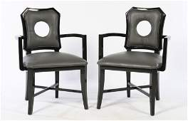 PAIR UPHOLSTERED OPEN ARM CHAIRS JAMES MONT 1950