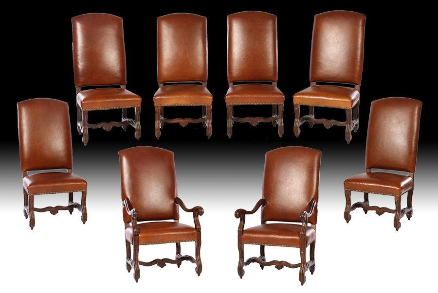 Set 8 Ralph Lauren Henredon Leather Dining Chairs