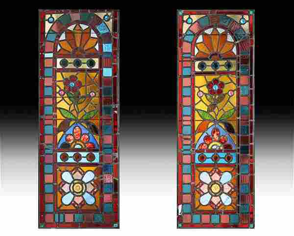 PAIR STAINED LEADED GLASS DOOR PANELS 1880