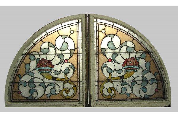 ANTIQUE ARCHED CORNUCOPIA WINDOW CIRCA 1897