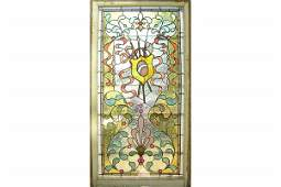 ANTIQUE KILLER PR VICTORIAN LEADED WINDOWS WITH JEWELS