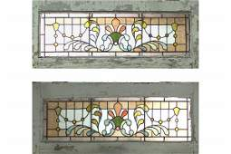 ANTIQUE PR OF AMERICAN VICTORIAN STAINED GLASS WINDOWS