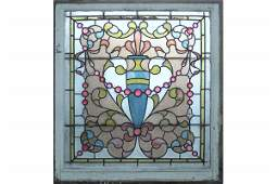 ANTIQUE AMERICAN VICTORIAN LEADED STAINED GLASS WINDOW