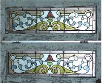 ANTIQUE PAIR OF AMERICAN VICTORIAN STAINED GLASS WINDOW