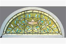 ANTIQUE AMERICAN VICTORIAN STAINED LEADED GLASS WINDOW