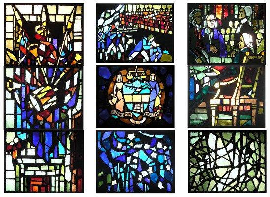 DALLE DE VERRE GLASS WINDOW PANELS BY GABRIEL LOIRE