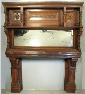 PABST MASSIVE VICTORIAN WALNUT FIREPLACE MANTLE