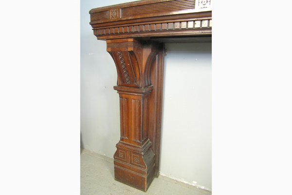 PABST MASSIVE VICTORIAN WALNUT FIREPLACE MANTLE         - 2