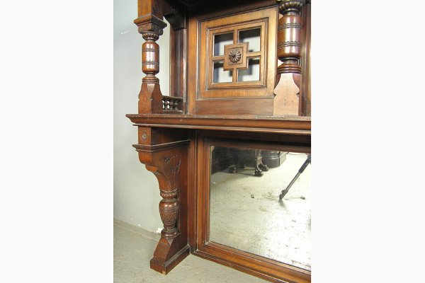 PABST MASSIVE VICTORIAN WALNUT FIREPLACE MANTLE         - 3