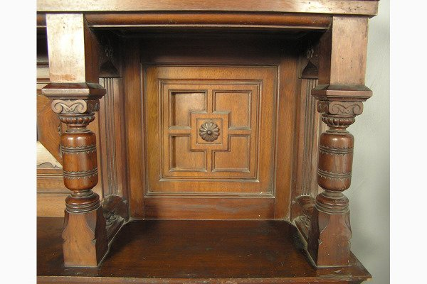 PABST MASSIVE VICTORIAN WALNUT FIREPLACE MANTLE         - 4