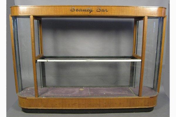 Art Deco Glass Amp Wood Display Cabinet Beauty Bar