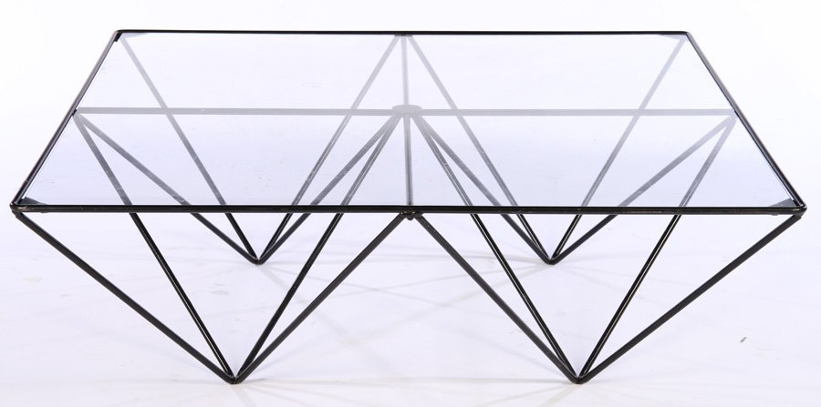WROUGHT IRON GLASS COFFEE TABLE PAOLO PIVA