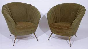 PAIR ITALIAN CURVED BACK LOUNGE CHAIRS BRONZE LEGS 1950