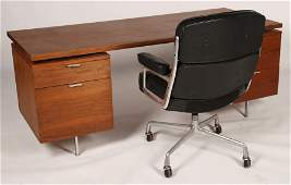 HERMAN MILLER EXECUTIVE DESK AND LEATHER CHAIR