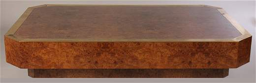 GIANT MILO BAUGHMAN STYLE BURLED WOOD COFEE TABLE 1970