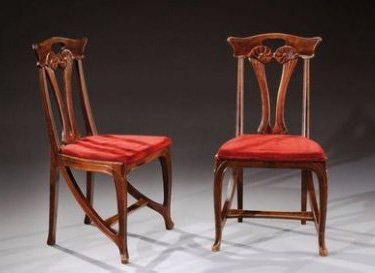 PAIR EUGENE GAILLARD ART NOUVEAU CHAIRS C.1900