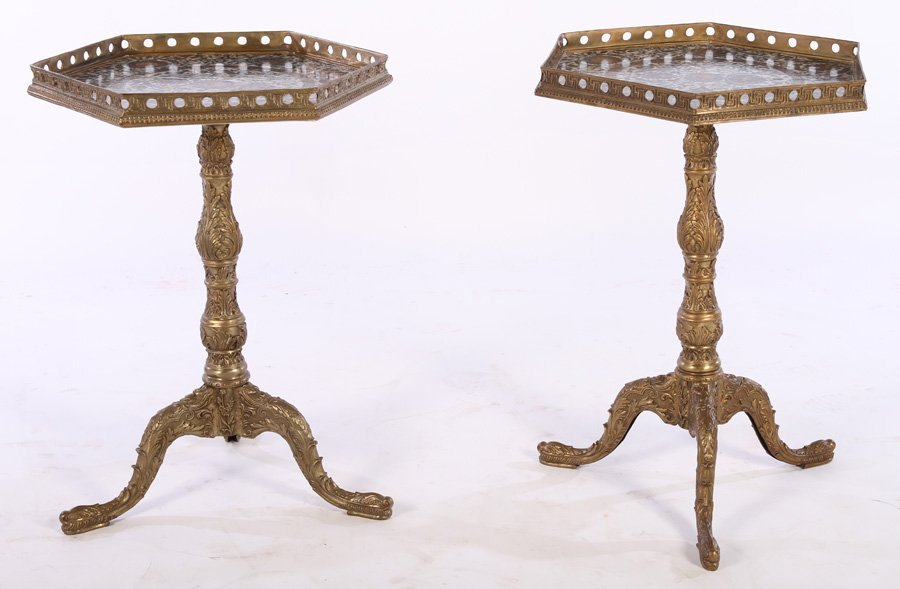 PAIR OF BRONZE SIDE TABLES PORCELAIN TOPS