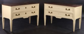Pair Louis Xv Painted Commodes Faux Marble Top