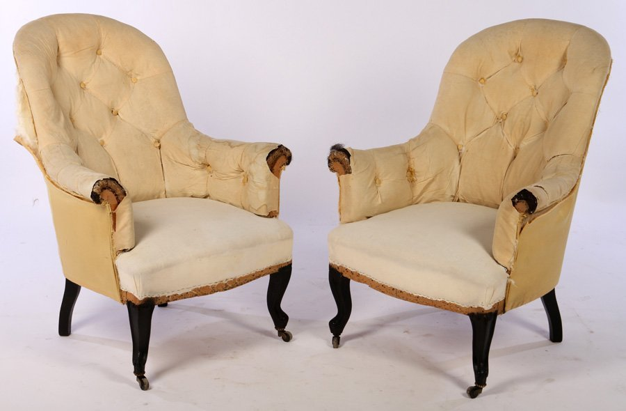 PR LATE 19TH C FRENCH NAPOLEON III LIBRARY CHAIRS