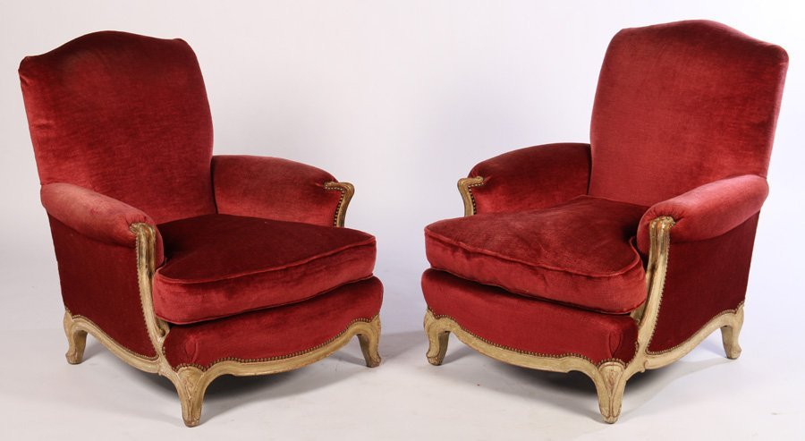 PAIR FRENCH BERGERE CHAIRS CUSHION SEAT C.1940
