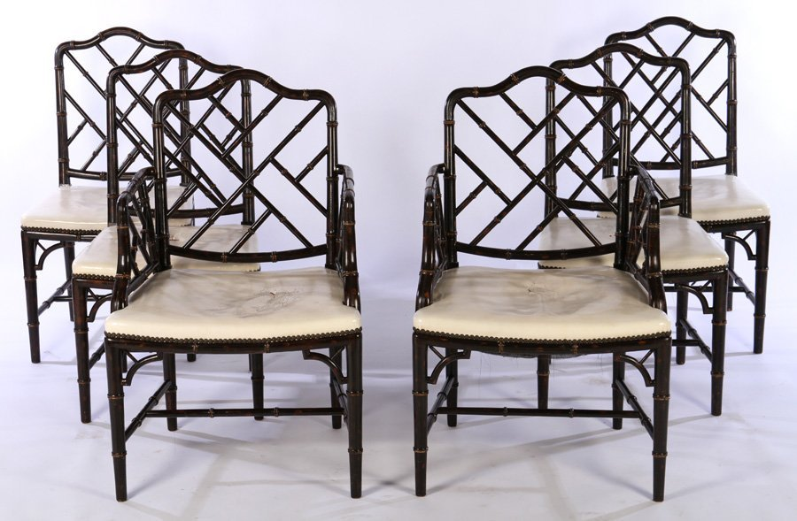 6 CARVED FAUX BAMBOO DINING CHAIRS 4 SIDE 1940