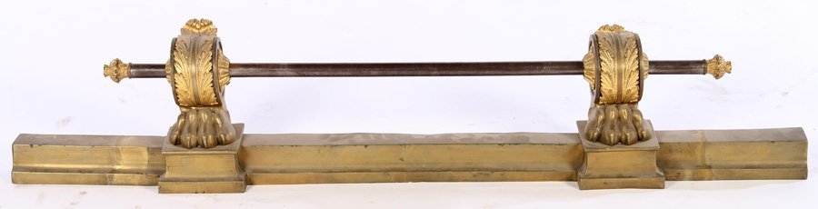 19TH CENT. NEOCLASSICAL BRONZE FIREPLACE FENDER