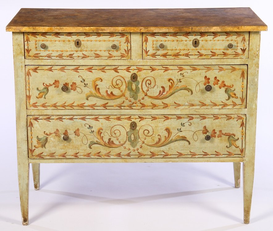 ITALIAN PAINTED COMMODE FAUX MARBLEIZED TOP