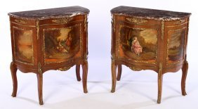 Pr French Vernis Martin Style Commodes